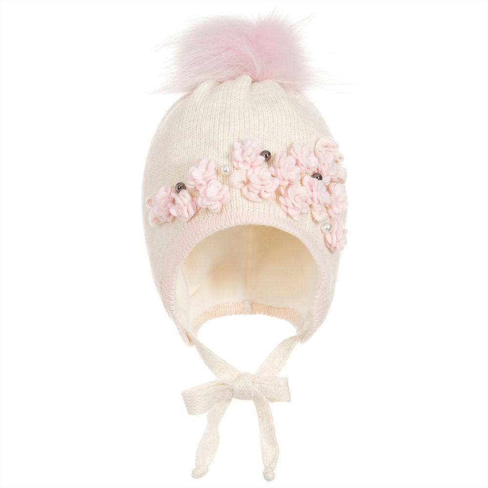 b67fe6aa110 Girls Knitted Pom-Pom Hat for Girl by Jamiks. Discover more beautiful  designer Hats for kids online at Childrensalon.co.
