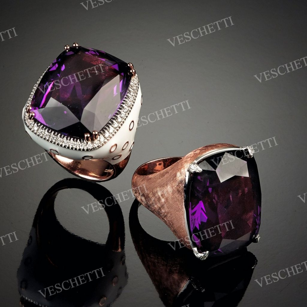 Rings set with amethysts, white enamel and brilliant-cut diamonds