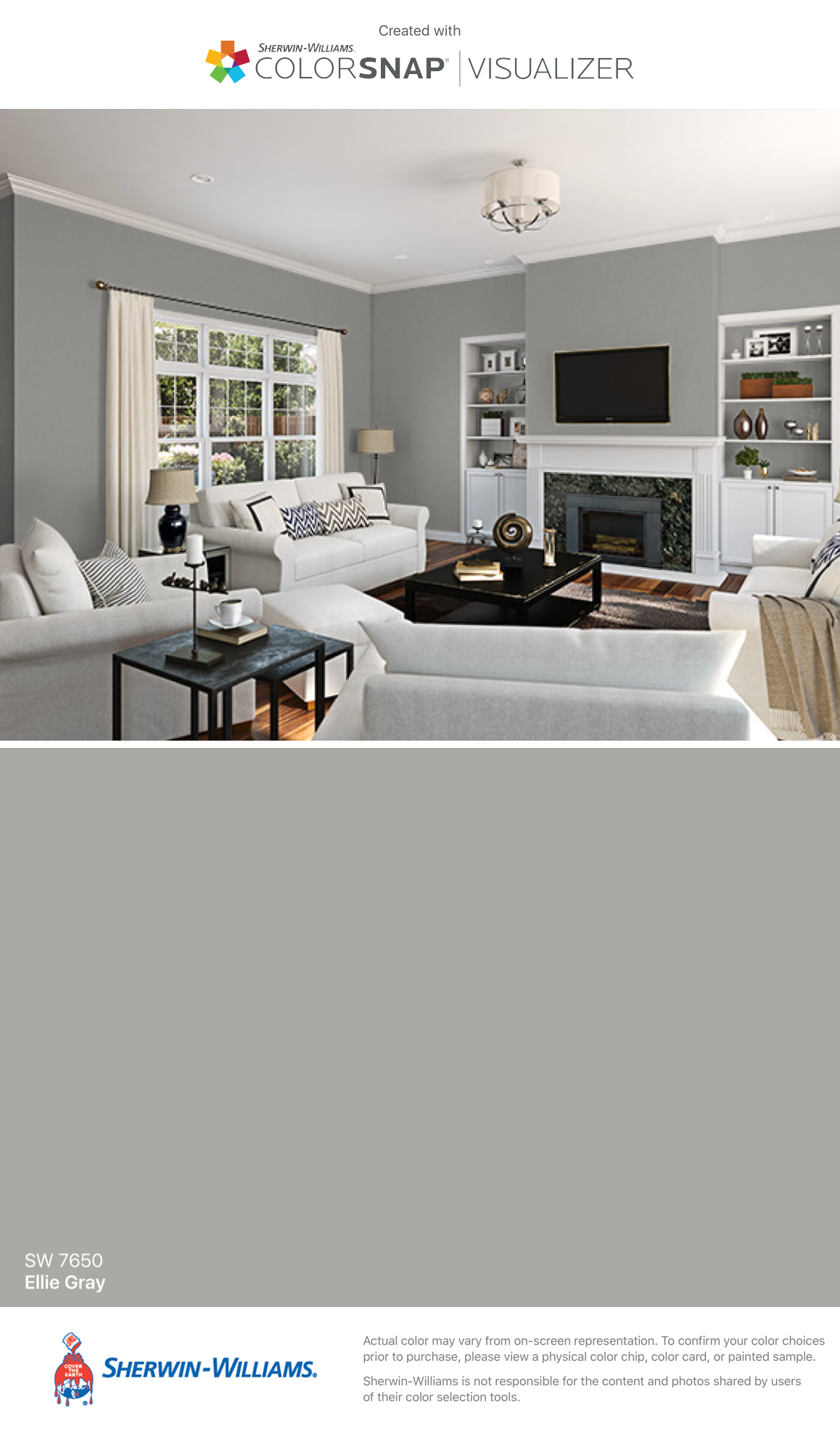 I found this color with colorsnap visualizer for iphone by sherwin williams ellie gray sw 7650