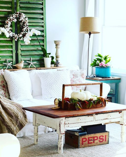 Pepsi Crate storage, chippy whites, pops of color ....  Eclectic room full of neat items  by D.D.'s Cottage and Design