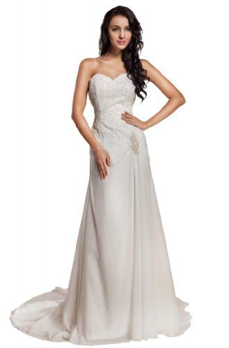 GEORGE BRIDE Sweetheart Chiffon Chapel Train Beach Wedding Dress ...