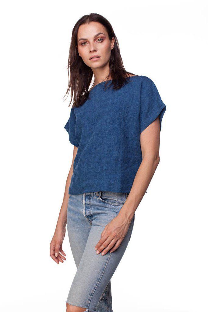 a93aa33ac4c3c9 indigo smock shirt linen    blluemade