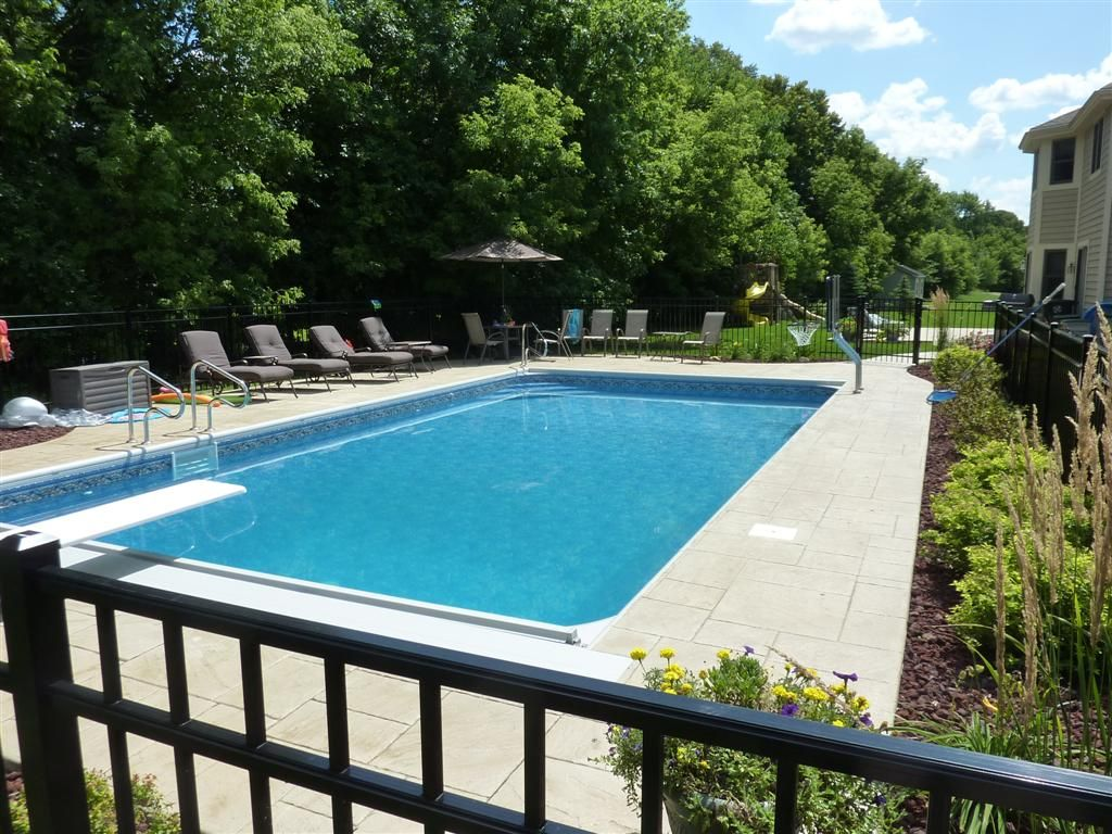 Inground pool landscaping ideas completed inground swimming pools pool designs pool - Swimming pool landscape design ideas ...