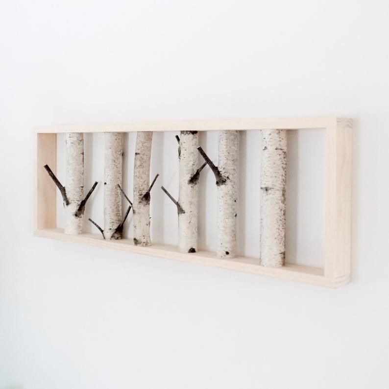 White Birch Forest Wall Art 30 X 12 Birch Branch Decor Birch Log Wall Hanging Modern Rustic Wall Decor Framed Birch Art In 2020 Birch Branches Birch Tree Decor Branch Decor
