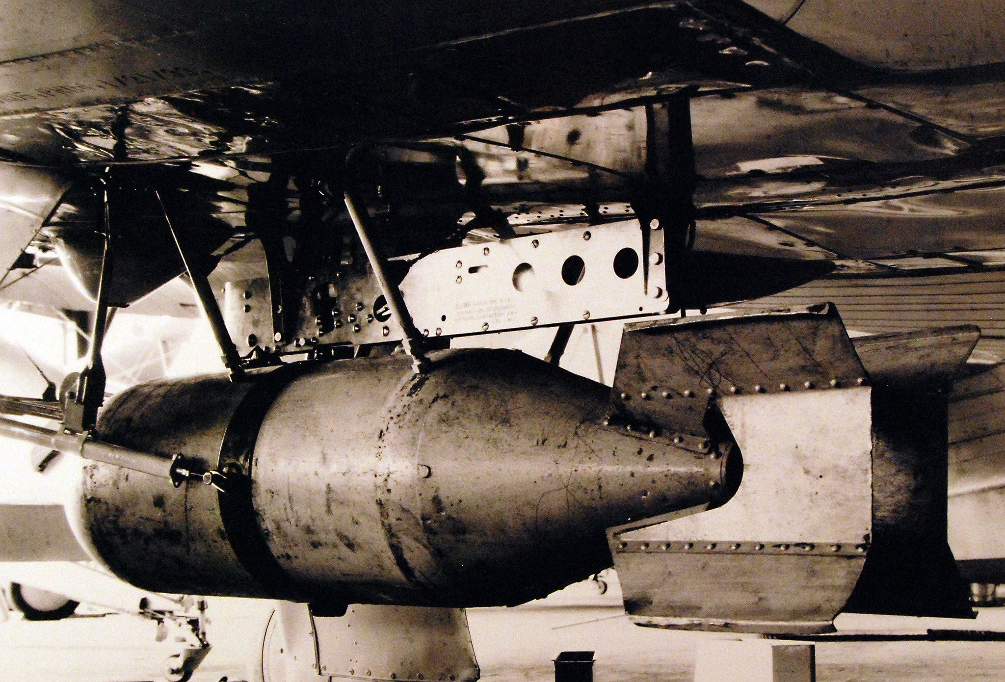 MK-III bomb rack on Boeing XF63-1 airplane, May 4, 1933.  U.S. Navy Photograph, now in the collections of the National Archives.