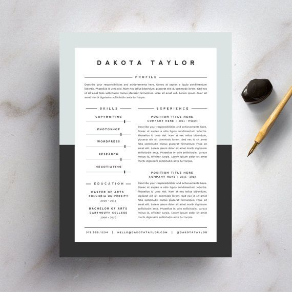 Resume Template and Cover Letter Template for Word DIY Instant