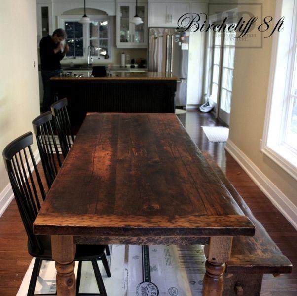 Reclaimed Wood Harvest Table with epoxy/polyurethane finish in Etobicoke -  Ontario Threshing Floor Board Top - Showroom in Cambridge,ON - by HD Threshing Floor Furniture www.hdthreshing.com