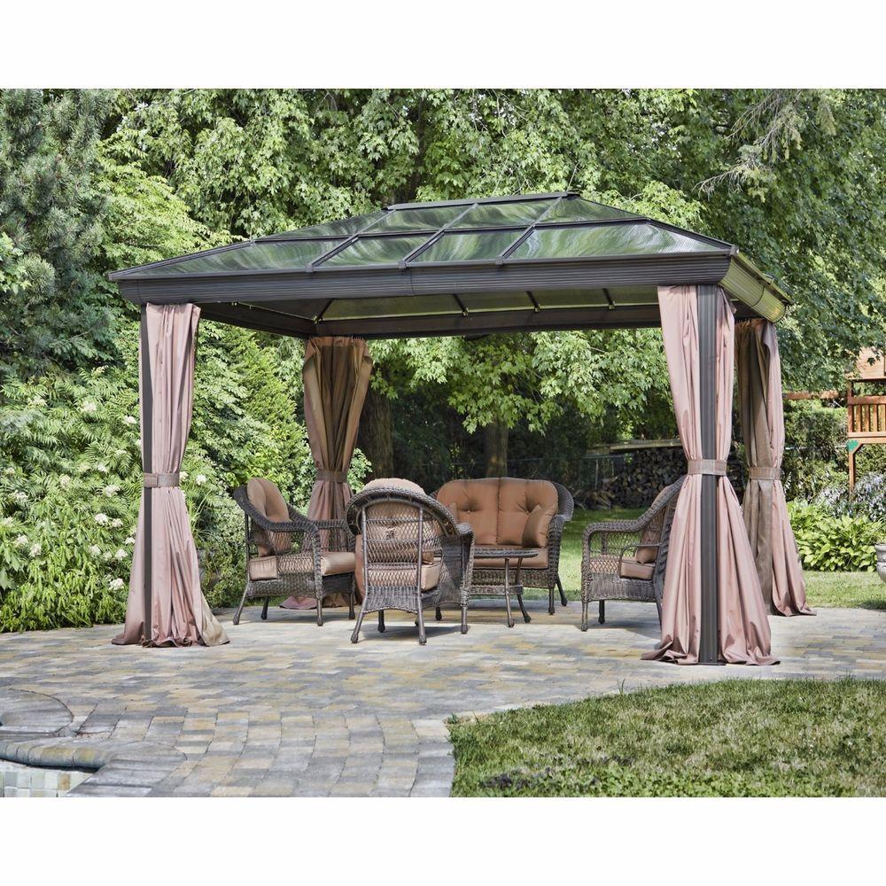Metal Permanent Gazebo Four Season Patio Canopy Sun Shelter 12 Ft W X 16 D