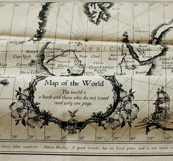 Vintage world map fabric bedroom headboard project pinterest vintage world map fabric gumiabroncs Image collections