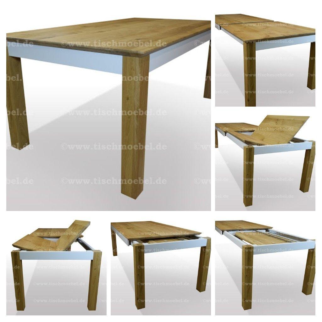 Esstisch Eiche Massiv Ausziehbar Ausfuhrung Als Standard Tisch Mit Beinen Unter Der Tischplatte Aussen Bundig Esstisch Eiche Esstisch Eiche Ausziehbar Esstisch