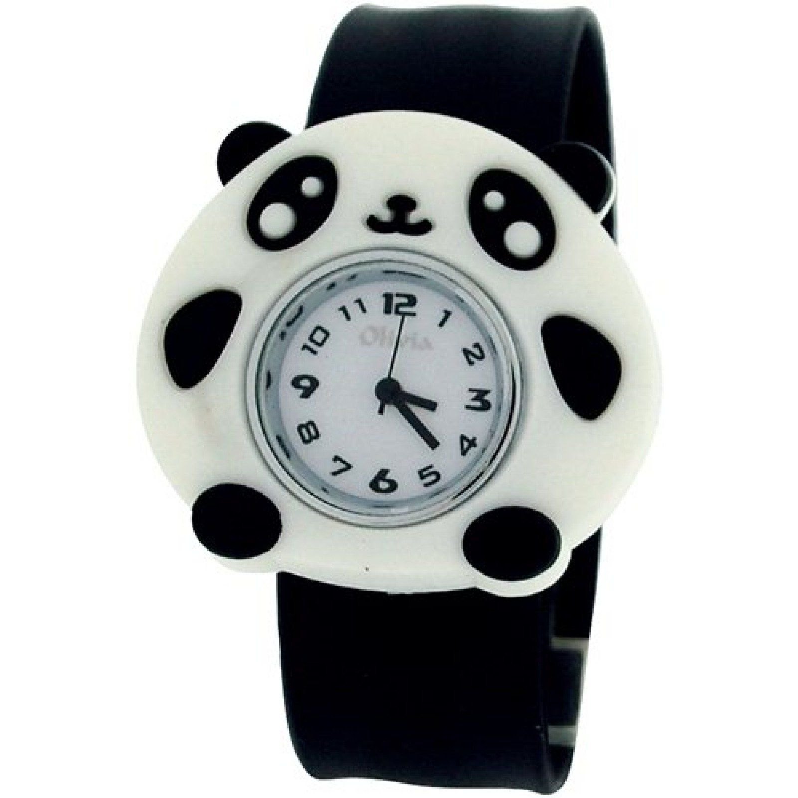 TOC Kids Analogue White Dial Panda Bear On Black Slap Watch TOC163. A funky and fun watch by The Olivia Collection, this watch is the perfect balance of fun and functionality. This watch is an ideal gift for kids. Product Features: * Quartz movement. * Black minute, hour and seconds hand. * Black silicone strap. * Removable case. Strap Measurements: * Length from one end of strap till other end 22.5cm. This watch is fully adjustable and fastens to fit the wrist with a gentle slap. 1.
