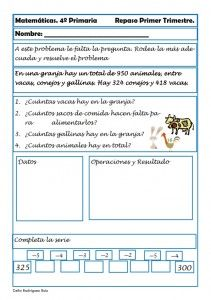 Matemáticas. Fichas para cuarto de primaria