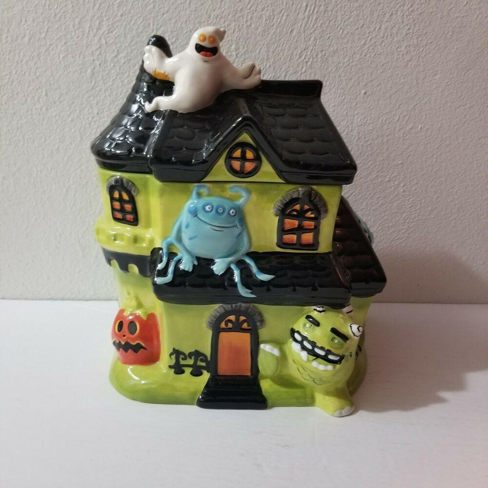 Halloween Haunted House Ceramic Cookie Jar Green Black