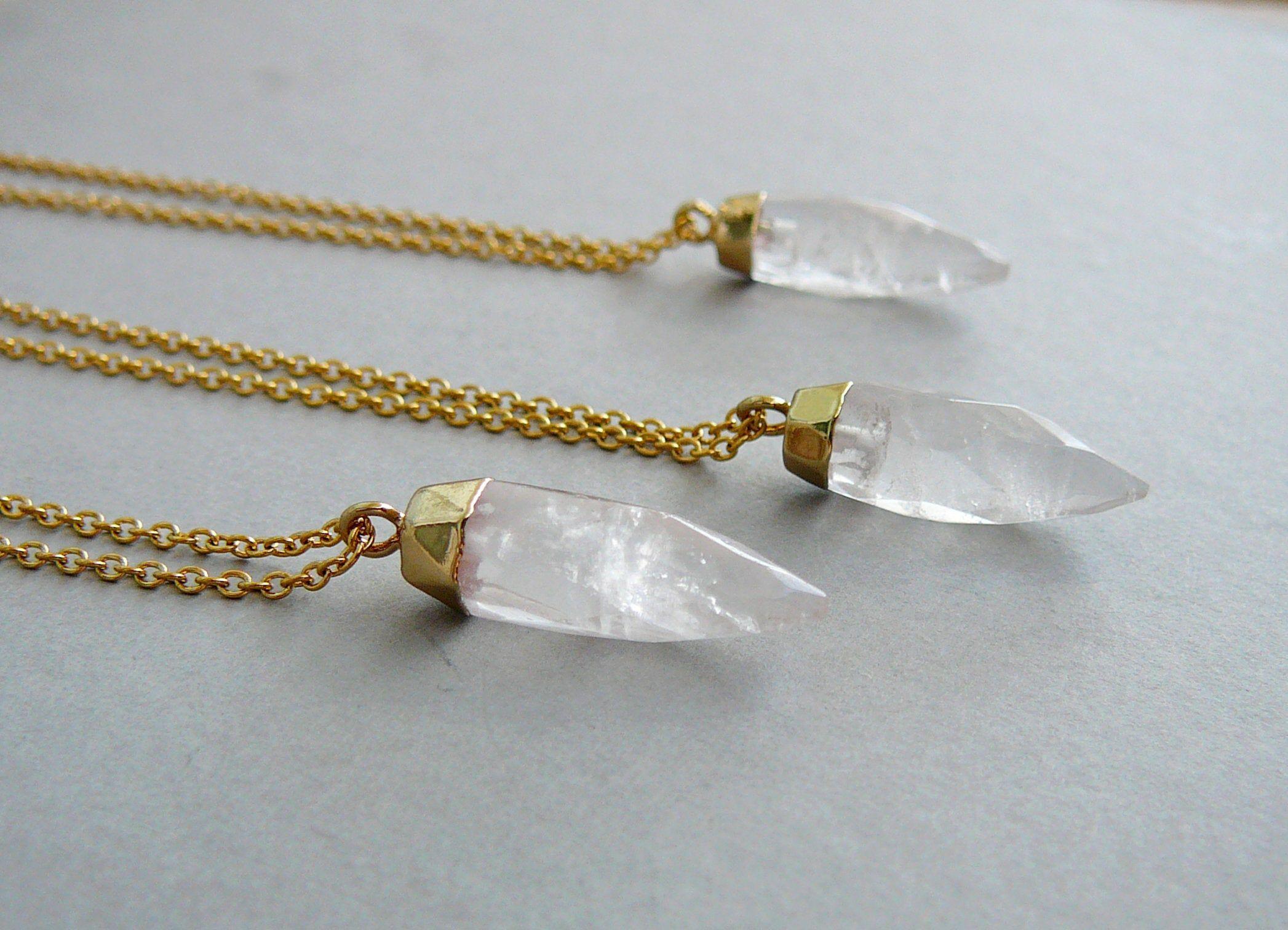 Clear Quartz Necklace Gemstone Necklace Gold Small Quartz Pendant Natural Quartz Pendant Healing Crystal Point Necklaces for women jewelry #quartznecklace