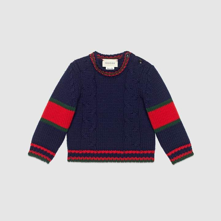 147a631b335 Gucci Baby cable knit wool sweater in 2019 | Products | Gucci baby ...