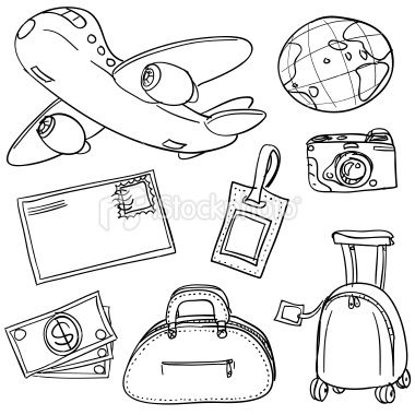 Travel icons in sketch style, Black and White