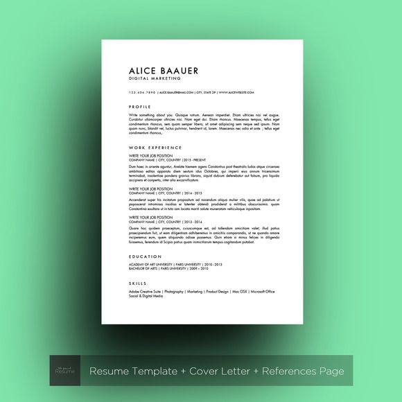Minimalist Resume Template Minimalist Resume Ms Word  Alice  Pinterest  Minimalist .
