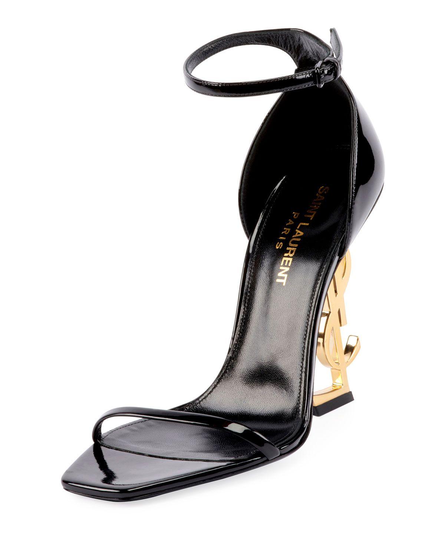 df4954eb406 SAINT LAURENT OPYUM YSL LOGO-HEEL SANDALS WITH GOLDEN HARDWARE. # saintlaurent #shoes