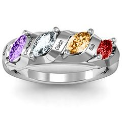 Birthstone Name Ring Morganite Rose Gold Ring Custom Name Ring Baby Names New Mom Gift Baptism Gift MOTHERS GIFT