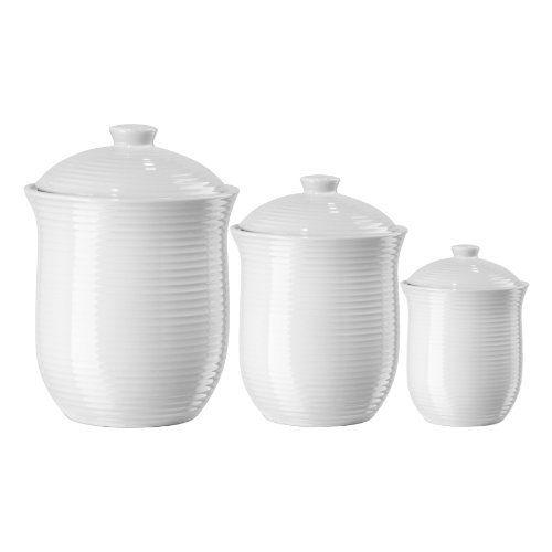 Oggi White Ribbed Ceramic Food Storage Canisters Set Of 3