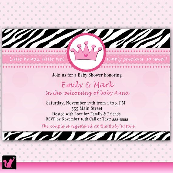 Zebra Baby Shower Invitation Purple Baby Feet Also Jungle Birthday