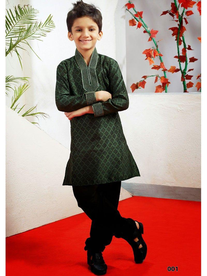 Dark Green with Black Pathani Suit Kurta Pyjama for Kids 001SIKD