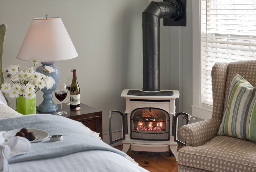 Gas fireplace | Sunset Room at The Inn at English Meadows, Kennebunk ...