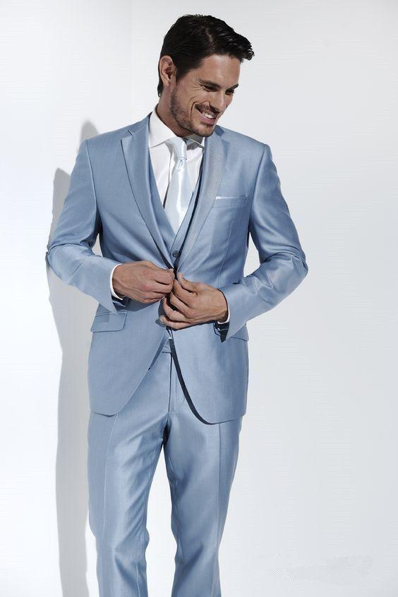 Latest Coat Pant Design Italian Light Blue Satin Men Suit Slim Fit 3 ...
