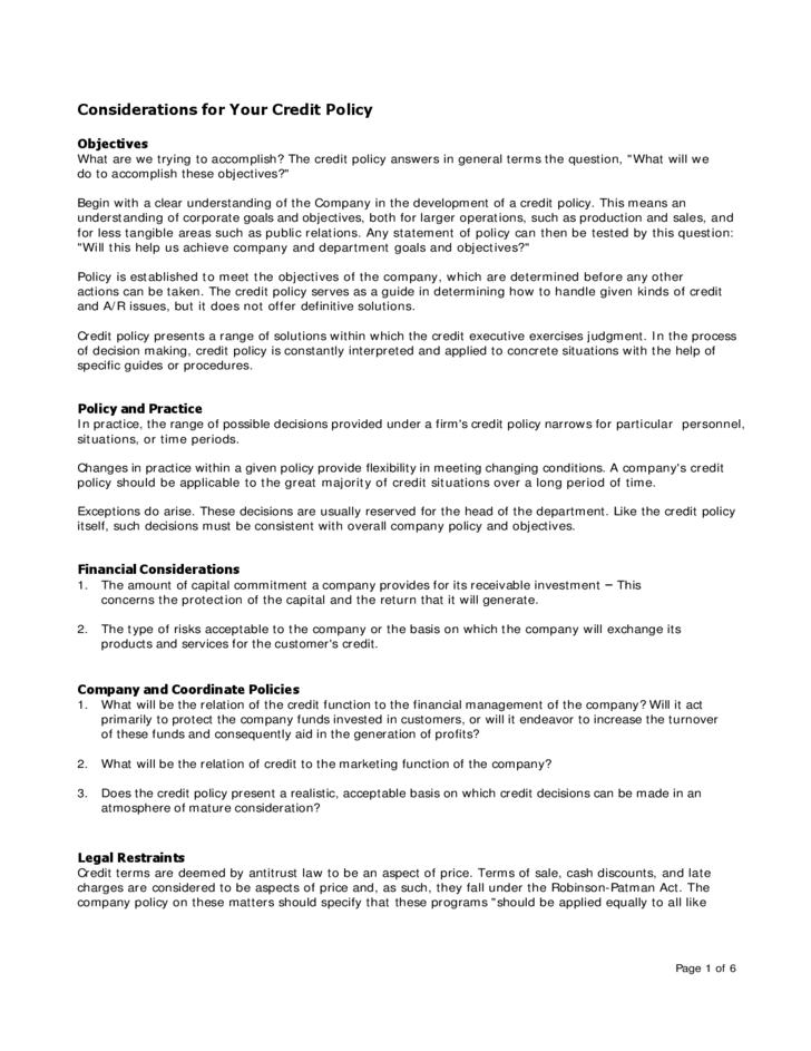 Credit Policy Template 369 Policy Template Credit Card Companies Excel Templates