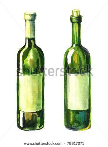 Watercolor Illustration Of 2 Green Wine Bottle 79917271