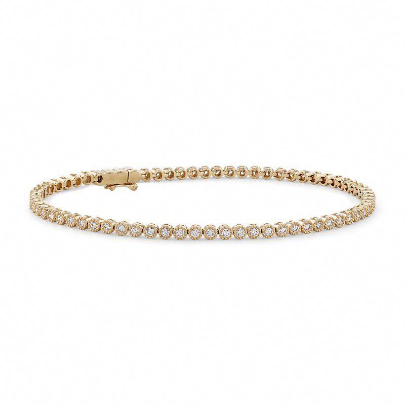 Petite Diamond Milgrain Tennis Bracelet 14k Yellow Gold 1 1 2 Ct Tw Gold Diamon Sparkly Bracelets Sterling Silver Diamond Bracelets Bracelets Gold Diamond