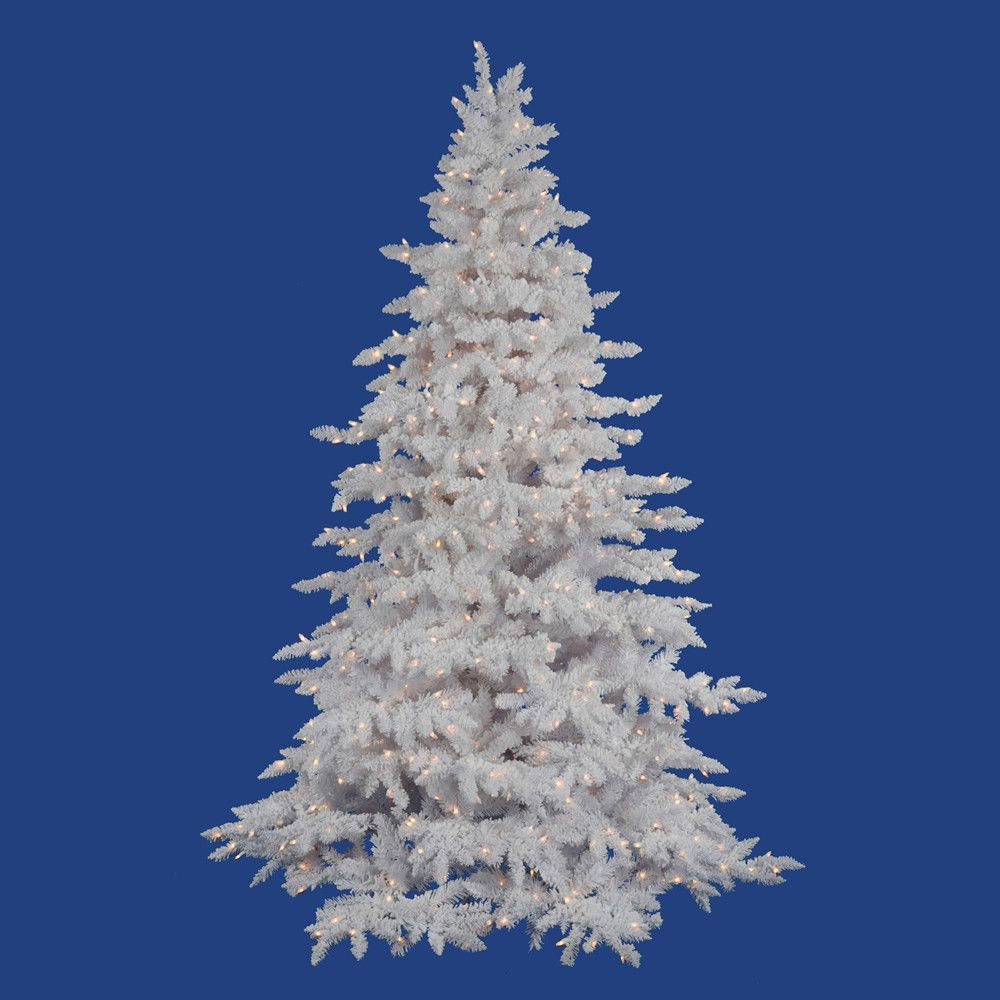 Vickerman Flocked White Spruce 4 5 Artificial Christmas Tree With 225 Led Warm White Light Flocked Christmas Trees Unlit Christmas Trees Spruce Christmas Tree