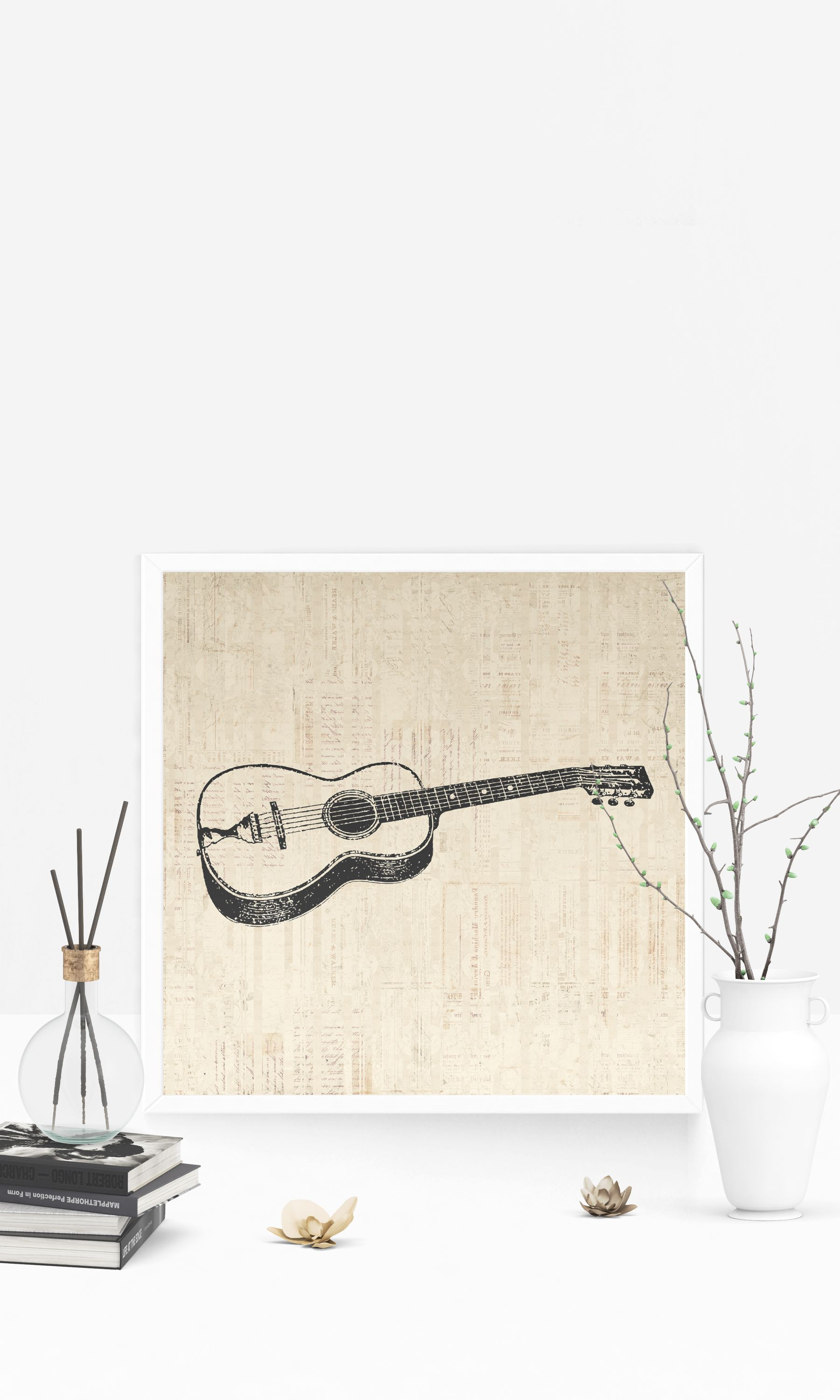 Vintage acoustic guitar print for wall art u home decoration with a