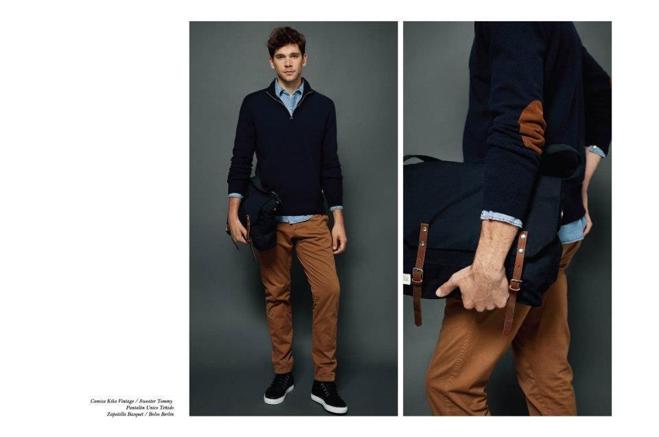 Combinación casual con chaqueta de parches en los codos y pantalón de  gabardina. bb58ea729ed1