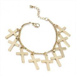 Religion Gold Chain Cross Bracelet