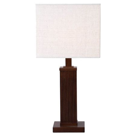 Streamlined Wood Table Lamp With A Cherry Brown Finish And Square