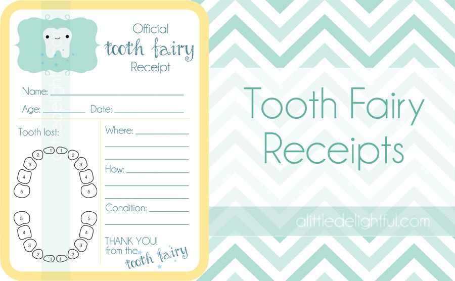 {printable} Tooth Fairy Receipts and Childhood Tooth