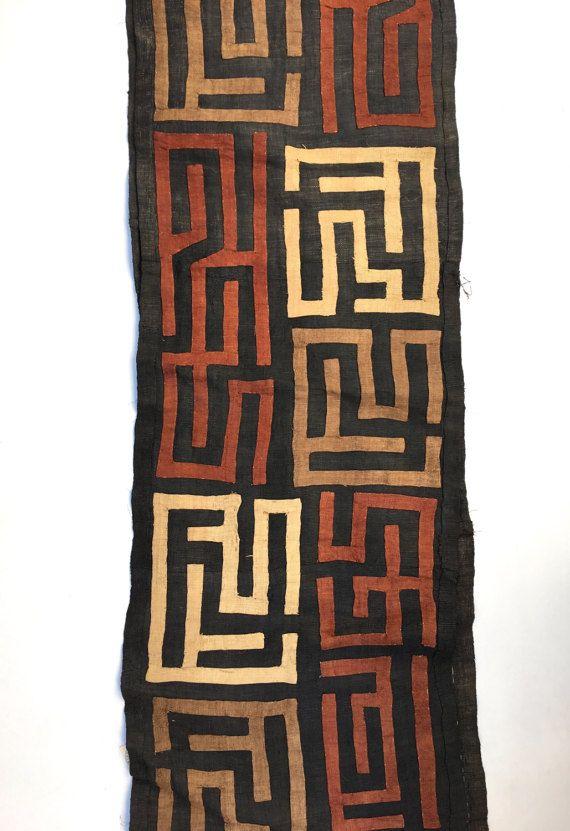 Kuba Cloth Raffia Textile Soft Black with Rust and Faded