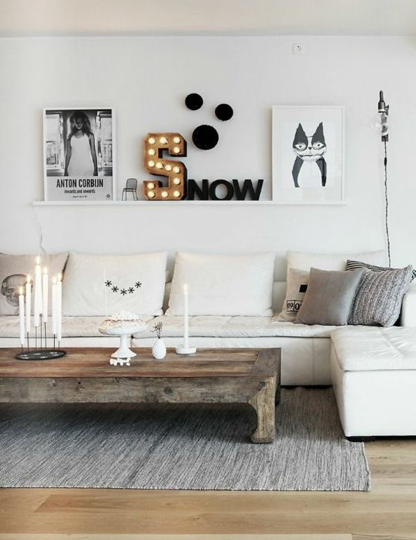 Wandgestaltung Wohnzimmer Wandregal Holz Weiss Sofa Couchtisch