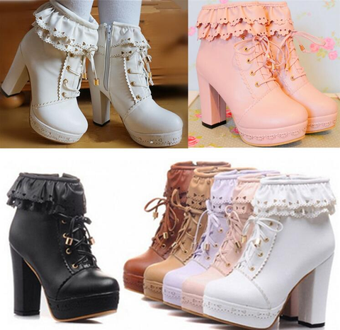 Cute japanese sweet lolita short boots