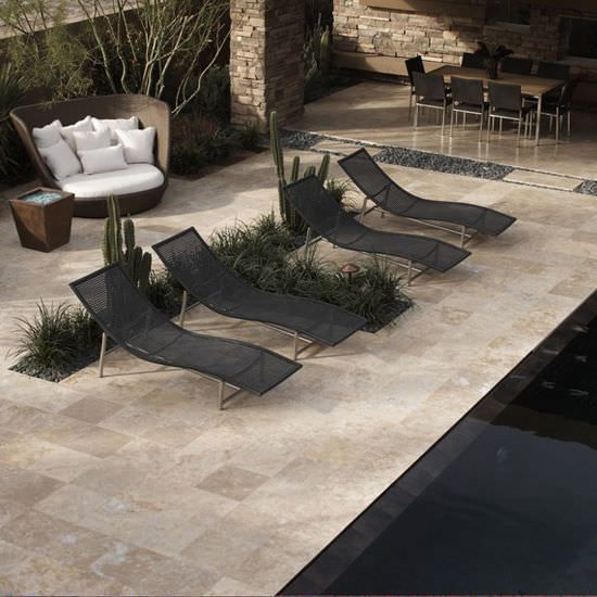 baldosa de exterior para playa de piscina de suelo de piedra natural travertine
