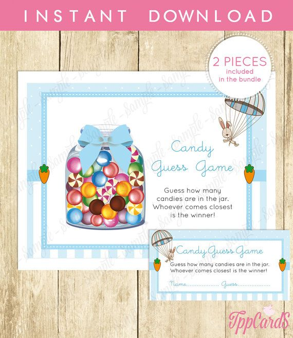 Candy Guessing Game Instant Download Jar Game Pretty Printable New Mom Party Bunny Baby Game Shower Activities Game Shower Little by TppCardS #tppcards