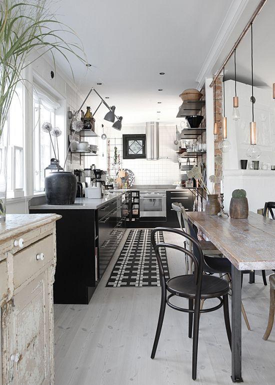 Black And White Design Industrial Interior Kitchen Rustic