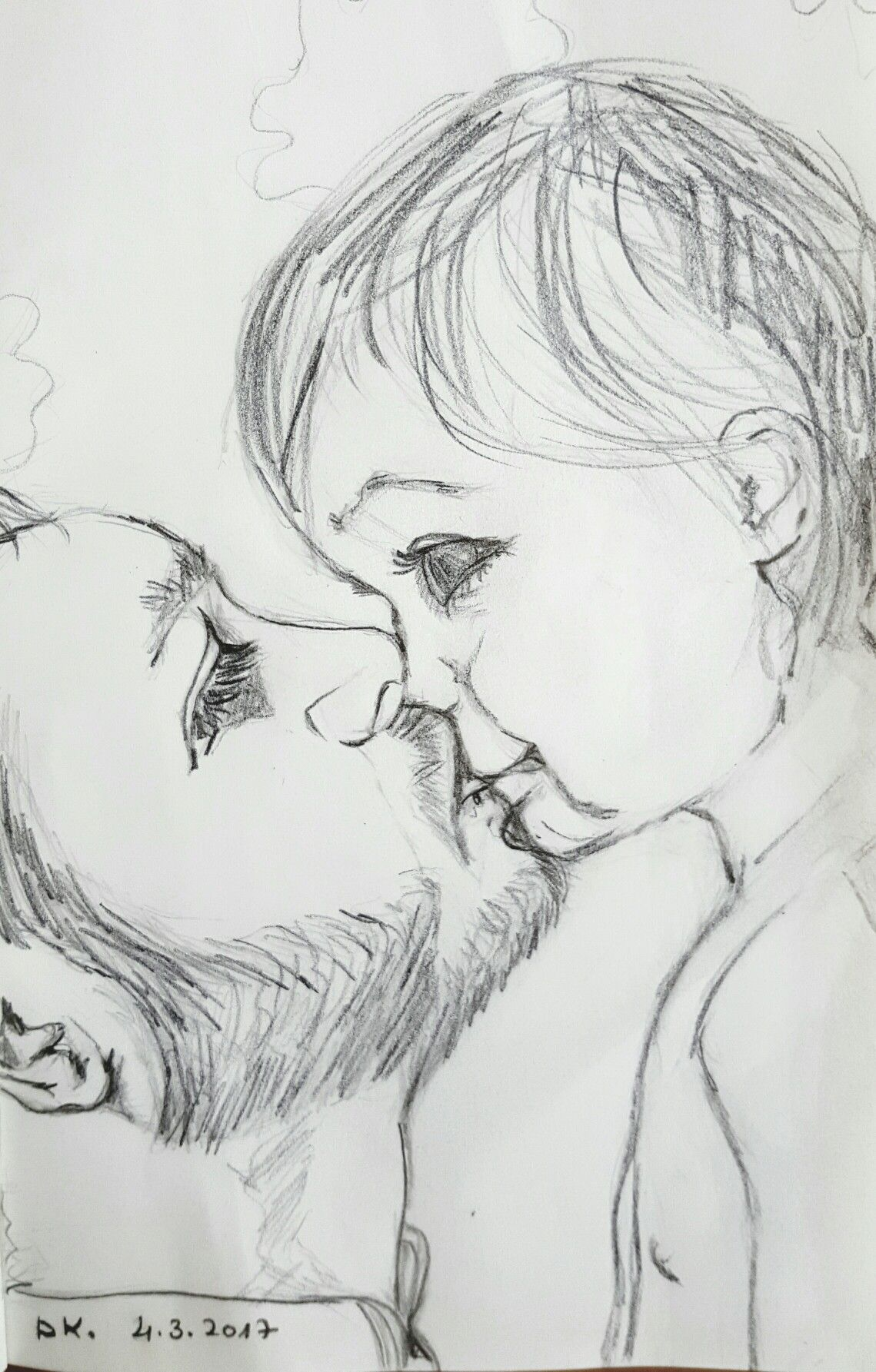 Pencil drawing by dorit kenyagin 21 pure love 100 good morning challenge