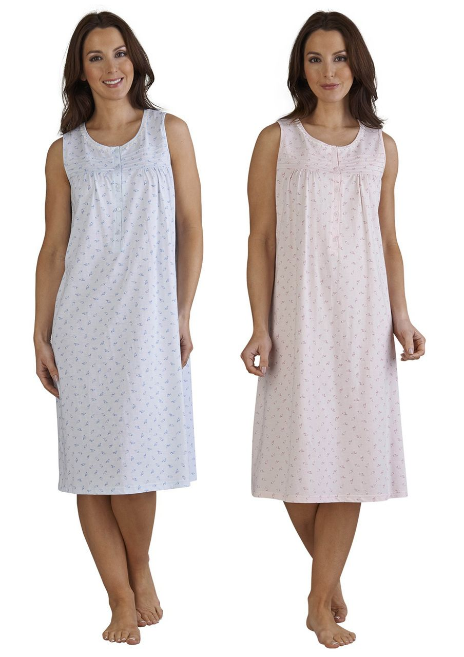 471d3a4194 Ladies Slenderella Sleeveless Floral Nightdress Size 10-22 (Blue or Pink) -  Mill Outlets