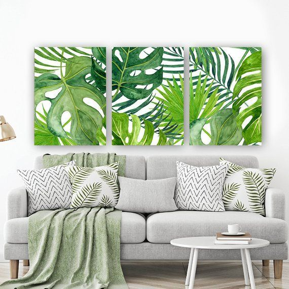 BANANA LEAF Wall Art, Tropical Bedroom Wall Decor, CANVAS or Prints