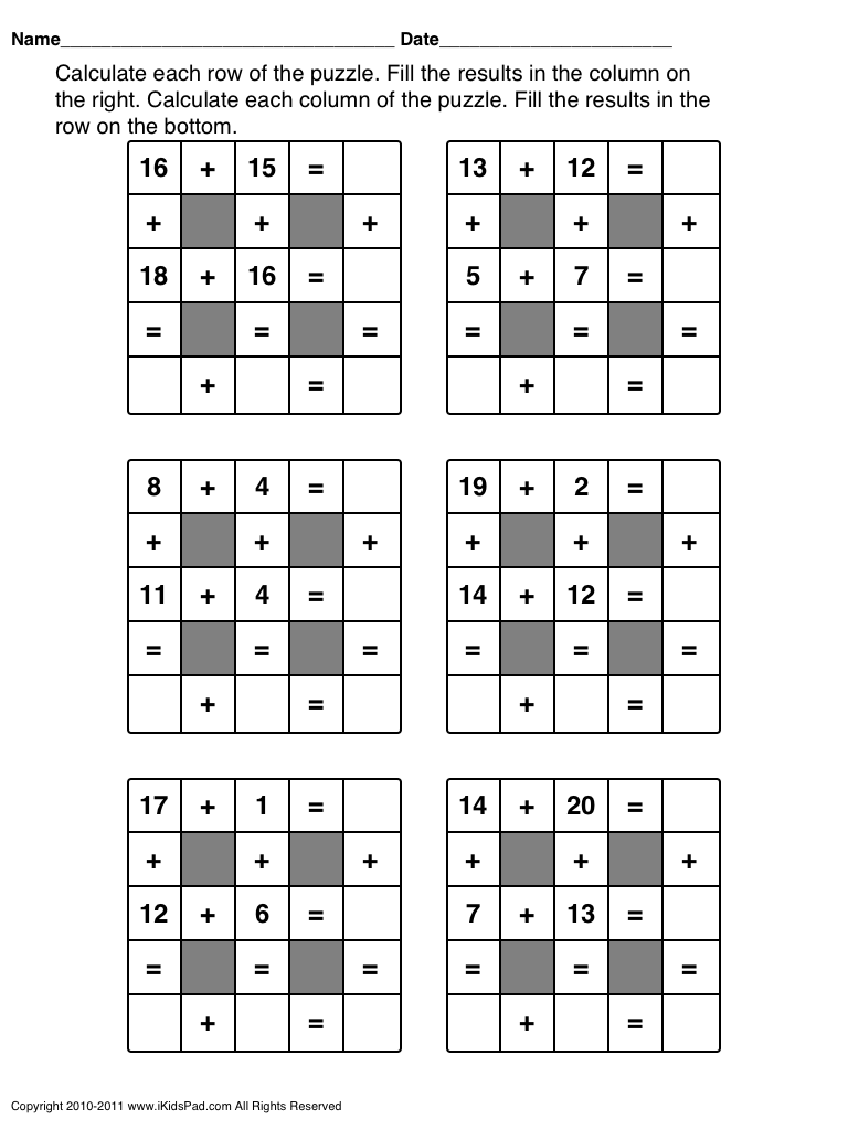 Declarative image with printable maths games and puzzles