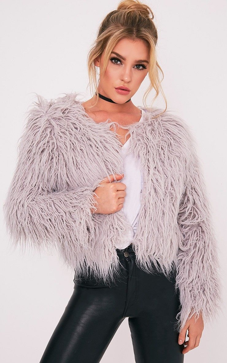Forever 21 Cropped Faux Fur Coat in Gray | Lyst