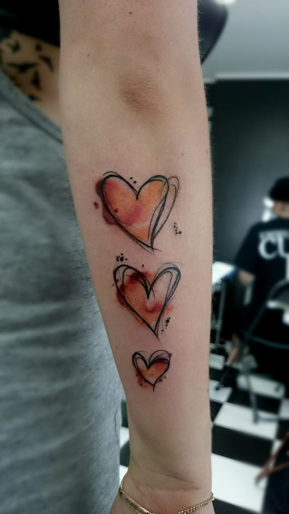 Whitepawaktion Tattoo Watercolor Heart Sketch Zeichnung
