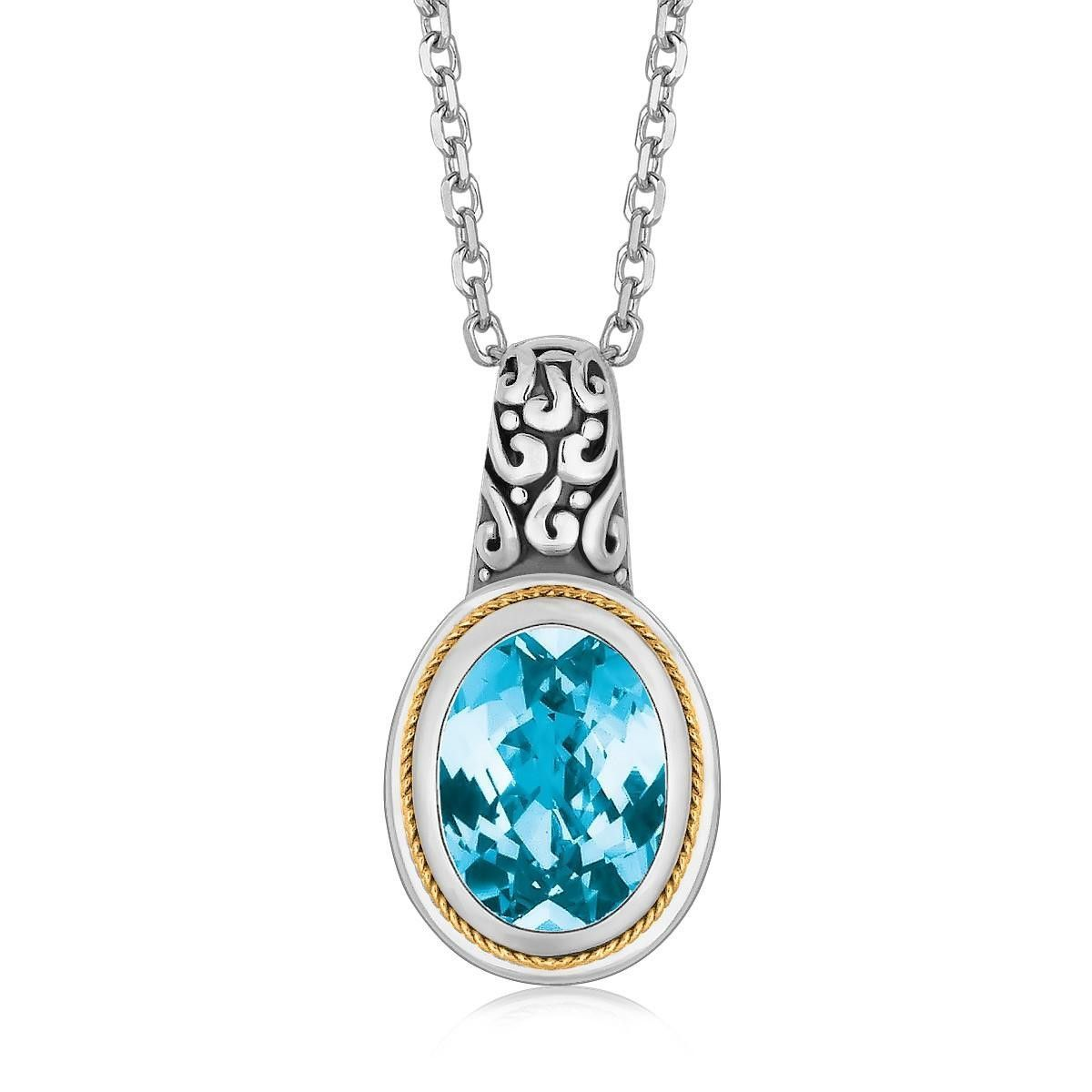 K yellow gold and sterling silver necklace with blue topaz
